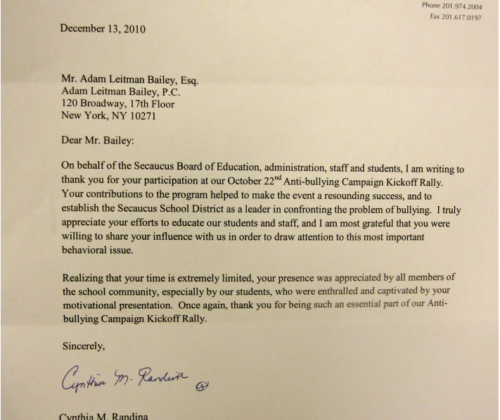 Thank you letter from Cynthia M. Randina, Superintendent of Schools